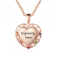 NJ211-CNE103079 Rose Gold Plated Sterling Silver Fancy Heart Necklace with Birthstones