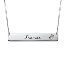 N408 - 925 Sterling Silver Personalized Footprint Bar Necklace