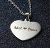 EJ89 - CNE101323 - Personalized Photo Heart Necklace with engraving on the back, Stainless Steel