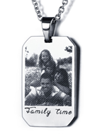 N289 - Stainless Steel Men's Personalized Photo engraved Dog Tag Chain