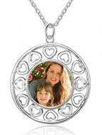 NJ104 - 925 Sterling Silver Personalized Photo Necklace with back engraving