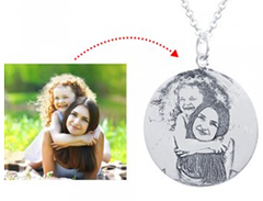 N784 - 925 Sterling Silver Personalized Photo Picture Necklace