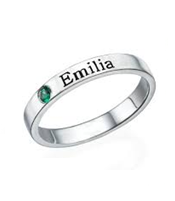 N779 - 925 Sterling Silver Personalized Birthstone Ring, Stackable