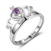 N2045 - Personalized 925 Sterling Silver Crown Tiara Ring