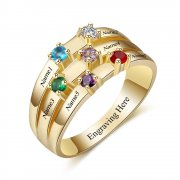 N2034 - Personalized Gold over 925 Sterling Silver CZ Ring