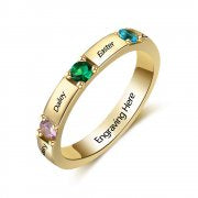 N2032-CRI103474 - Personalized Gold over 925 Sterling Silver CZ Ring