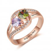 N2019 - Personalized Rose Gold over 925 Sterling Silver CZ Ring