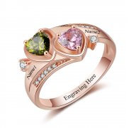 N2020 - Personalized Rose Gold over 925 Sterling Silver CZ Ring