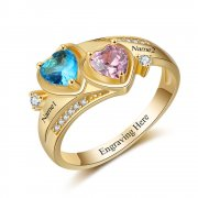 N2021 - Personalized Gold over 925 Sterling Silver CZ Ring