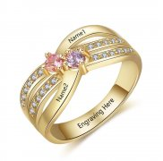 N2016-CRI103646 - Personalized Gold over 925 Sterling Silver CZ Ring