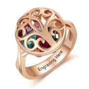 N2028-CRI103608 Personalized Birthstones Family Tree Ring, Rose Gold Plated