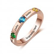 N2031-CRI103475 - Personalized Rose Gold over 925 Sterling Silver CZ Ring