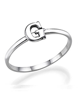 N1015 - 925 Sterling Silver Personalized Initial Letter Ring