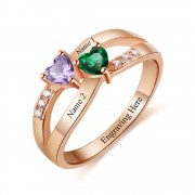N2039 - Personalized Rose Gold over 925 Sterling Silver Ring