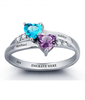 N270 - 925 Sterling Silver Personalized Couples Names & Birthstones Ring (Size 5-12)
