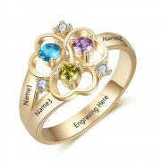 Personalized Gold over 925 Sterling Silver CZ Ring