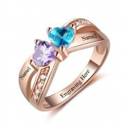 N2042 - Personalized Rose Gold over 925 Sterling Silver Ring
