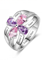 NJ110 - 925 Sterling Silver Personalized Names & Birthstones Ring