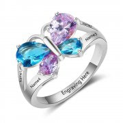 N2030 - CRI103543 - Personalized Names & Birthstones 925 Sterling Silver Ring