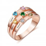N2033 - CRI103471 - Personalized Rose Gold over 925 Sterling Silver CZ Ring