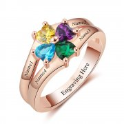 N2035 - Personalized Rose Gold over 925 Sterling Silver CZ Ring
