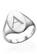 N2013 - 925 Sterling Silver Personalized Initial Signet Ring