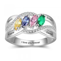 Sterling silver personalized ring, names and birthstones