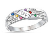 PR2 - 925 Sterling Silver Personalized Family Names & Birthstones Ring