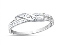 PR1 - 925 Sterling Silver Personalized Couples Names Ring