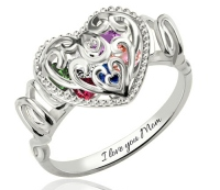 "G101 - 925 Sterling Silver Personalized ""MOM"" Heart Ring with Family Birthstones"