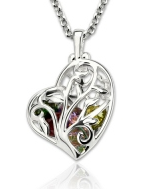 G104 - 925 Sterling Silver Personalized Heart Family Tree Necklace with Birthstones