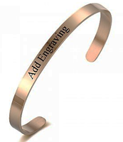 CBA101915 - Personalized Bangle, Rose Gold Stainless Steel, 5mmx18cm