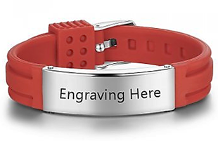 CBA102395- Personalized Red Wrist Strap Bracelet, Stainless Steel, Adjustable