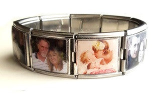 EJ40 - Custom Personalized Stainless Steel Photo Mega Link Bracelet (9 Photos)