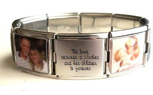 EJ39 - Custom Personalized Stainless Steel Wording & Photos Mega Link Bracelet