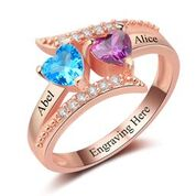 CRI102962 - Rose Gold 925 Sterling Silver Personalized Ring, Names and Birthstones