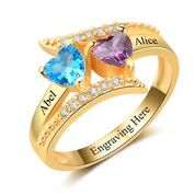 CRI102963 - Gold 925 Sterling Silver Personalized Ring, Names and Birthstones