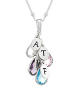 N533 - 925 Sterling Silver Personalized Birthstones, Initials Drop Necklace