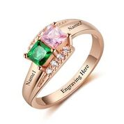 CRI103448 - Rose Gold 925 Sterling Silver Personalized Ring, Names & Birthstones