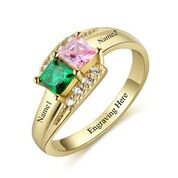 CRI103448 - Gold Plated 925 Sterling Silver Personalized Ring, Names & Birthstones