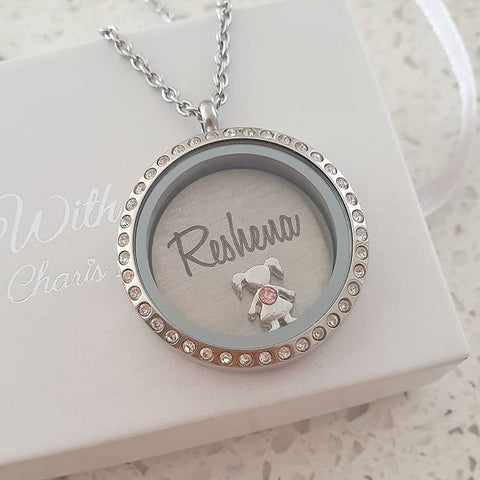 SET8 - Personalized Name & Birthstone Floating Locket Necklace