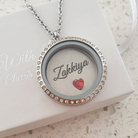 SET5 - Personalized Name & Birthstone Floating Locket Necklace