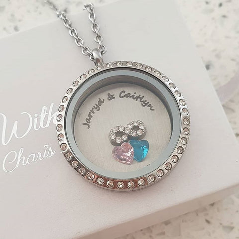 SET7 - Personalized Names, Birthstones & Infinity, Floating Locket Necklace