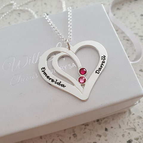 N75 - Sterling Silver Couples Names & Birthstones Personalized Necklace