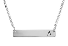 N545 - 925 Sterling Silver Personalized Initial Horizontal Bar Necklace