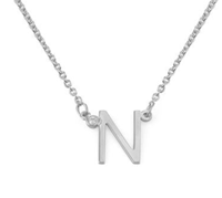 N543 - 925 Sterling Silver CZ Stone Personalized Initial Necklace