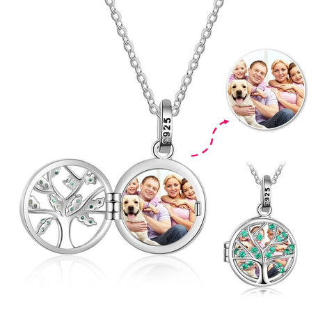 CNE103624 - 925 Sterling Silver Personalized Photo Tree Locket Necklace