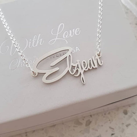 N787 - 925 Sterling Silver Personalized Signature Style Name Necklace
