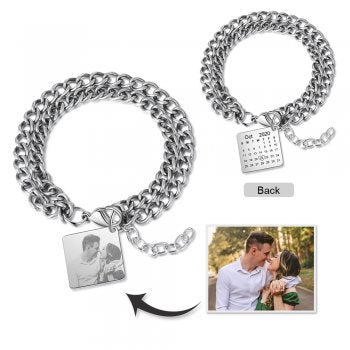 CBA103790 - Personalized Photo Bracelet, Stainless Steel