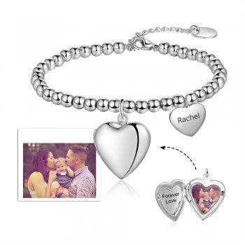 CBA103785 - Personalized Photo Locket Bracelet, Adjustable, Stainless Steel